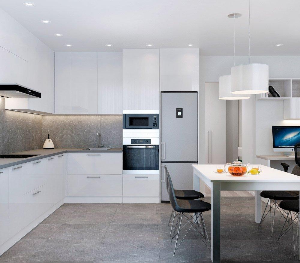 Кухонная панель с подвесными шкафчиками