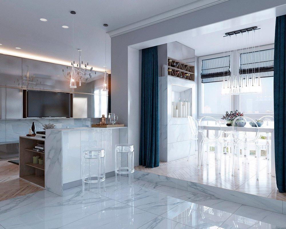 Крупная плитка в интерьере кухни