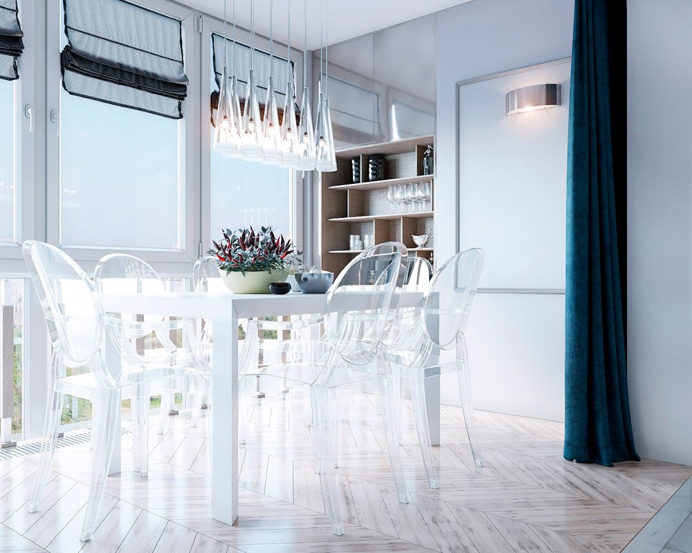 Фото столовой зоны с прозрачными стульями