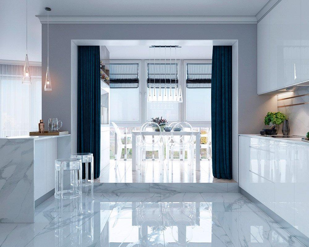 Разделение помещения с помощью штор