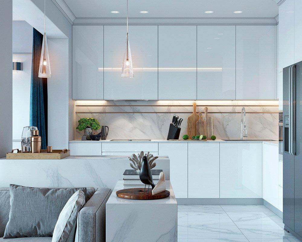 Фото совмещённой гостиной и кухни
