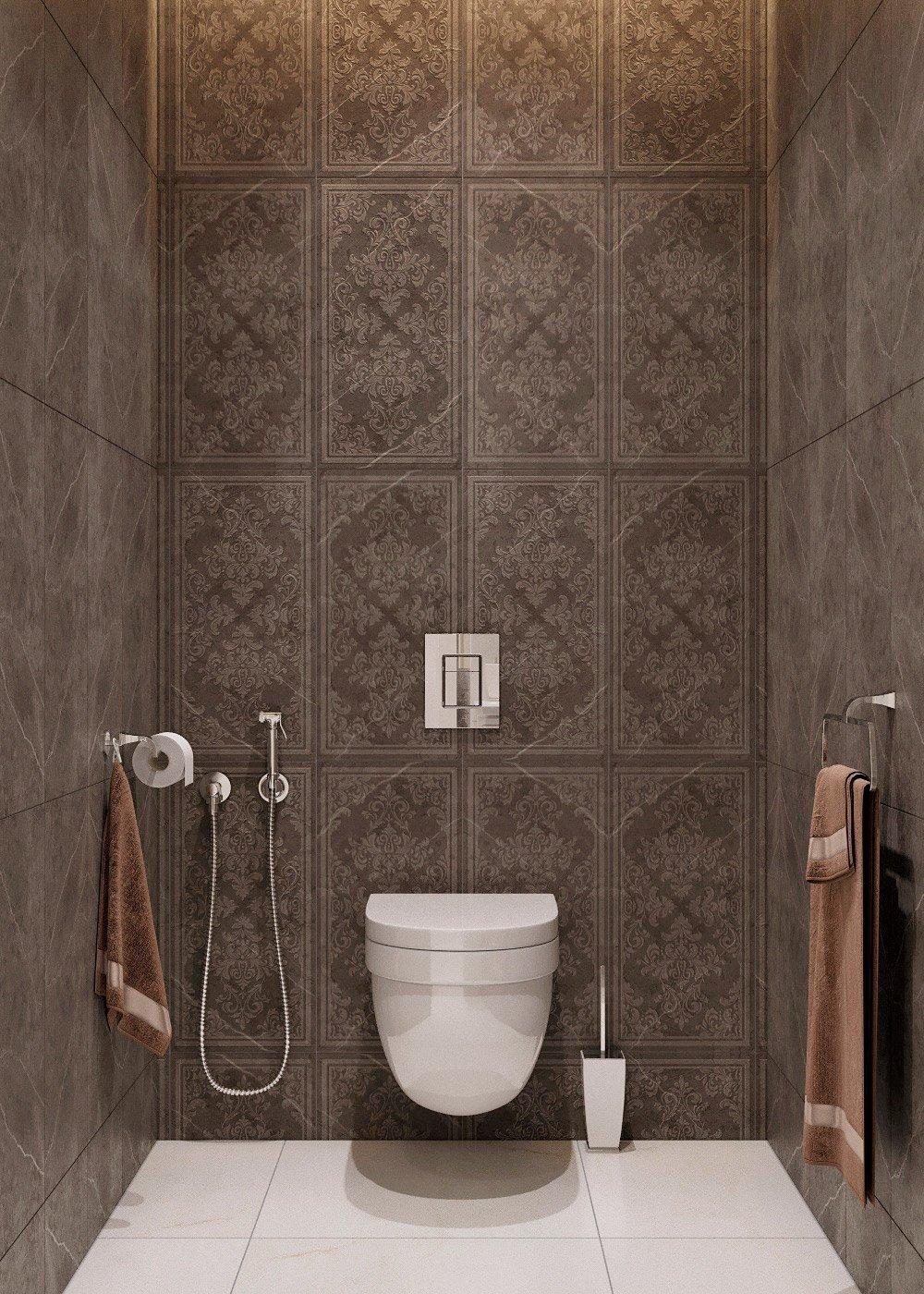 Коричневая плитка в туалете фото