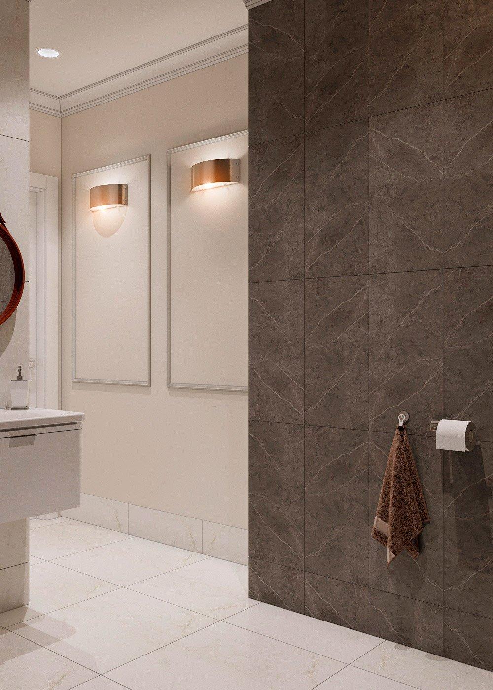 Сочетание коричневой и белой плитки в туалете