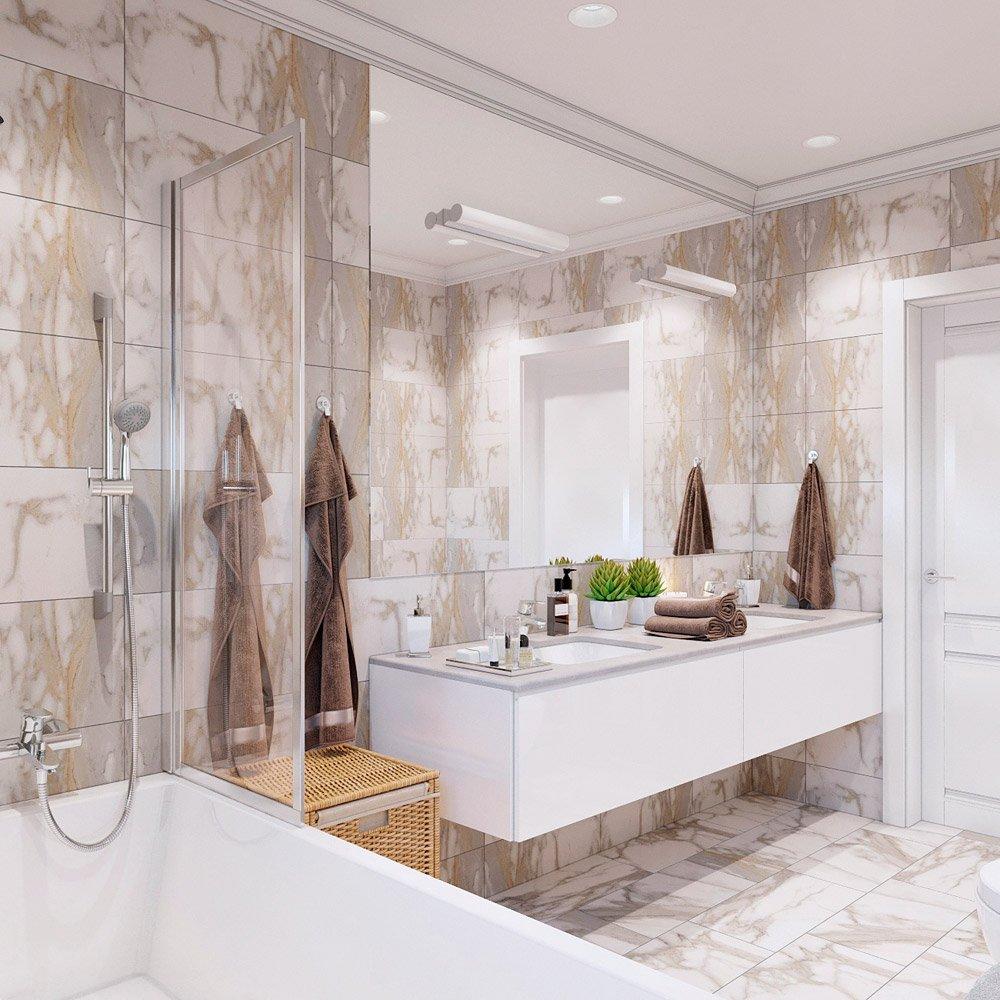 Дизайн проект ванной с большой площадью