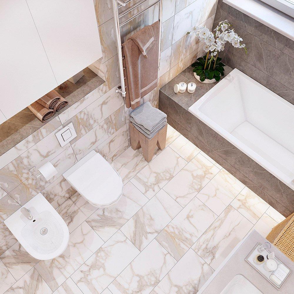 Интерьер ванной вид сверху