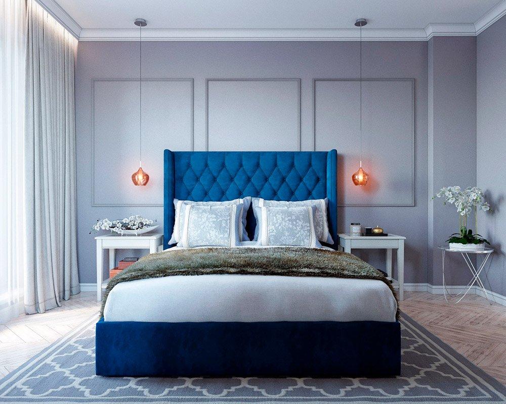 Двухспальная кровать в интерьере спальни