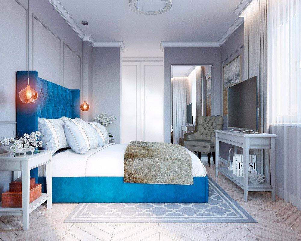 Синий акцент в интерьере спальни
