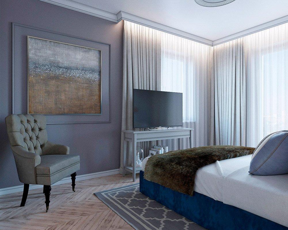 Серый цвет стен в интерьере спальни фото