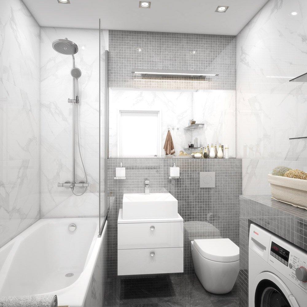Дизайн ванной с мелкой квадратной плиткой