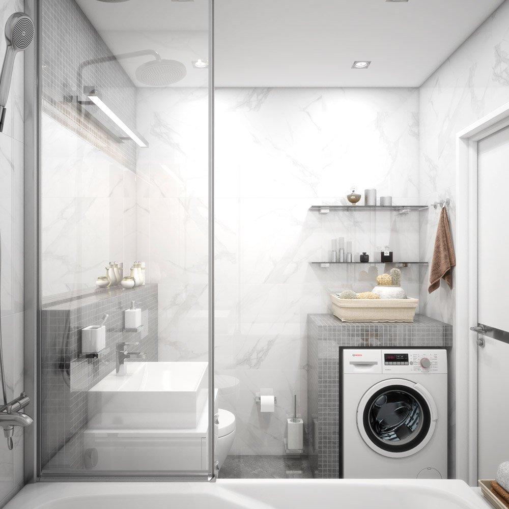 Необычное оформление умывальника в ванной