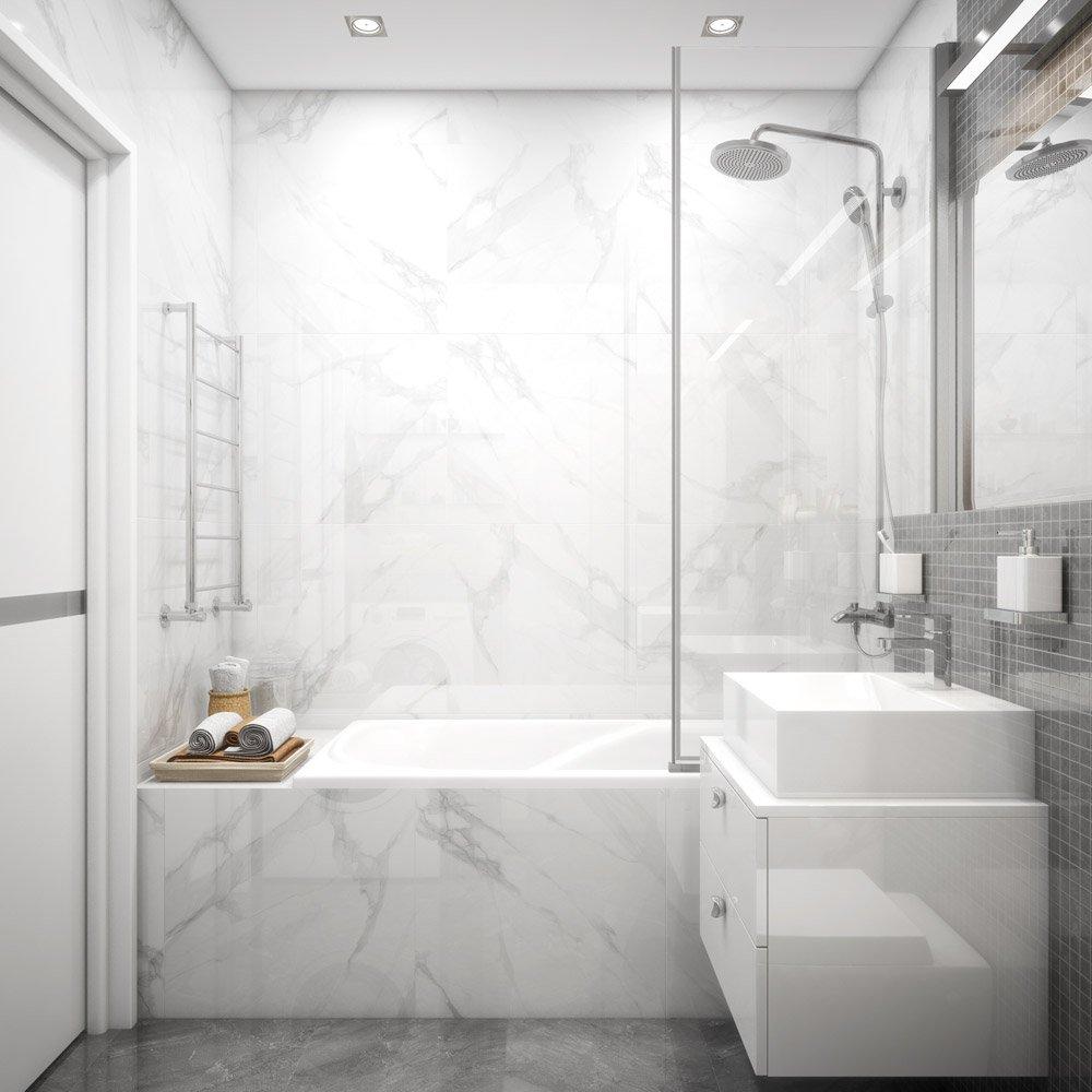 Фото ванной с каменной плиткой
