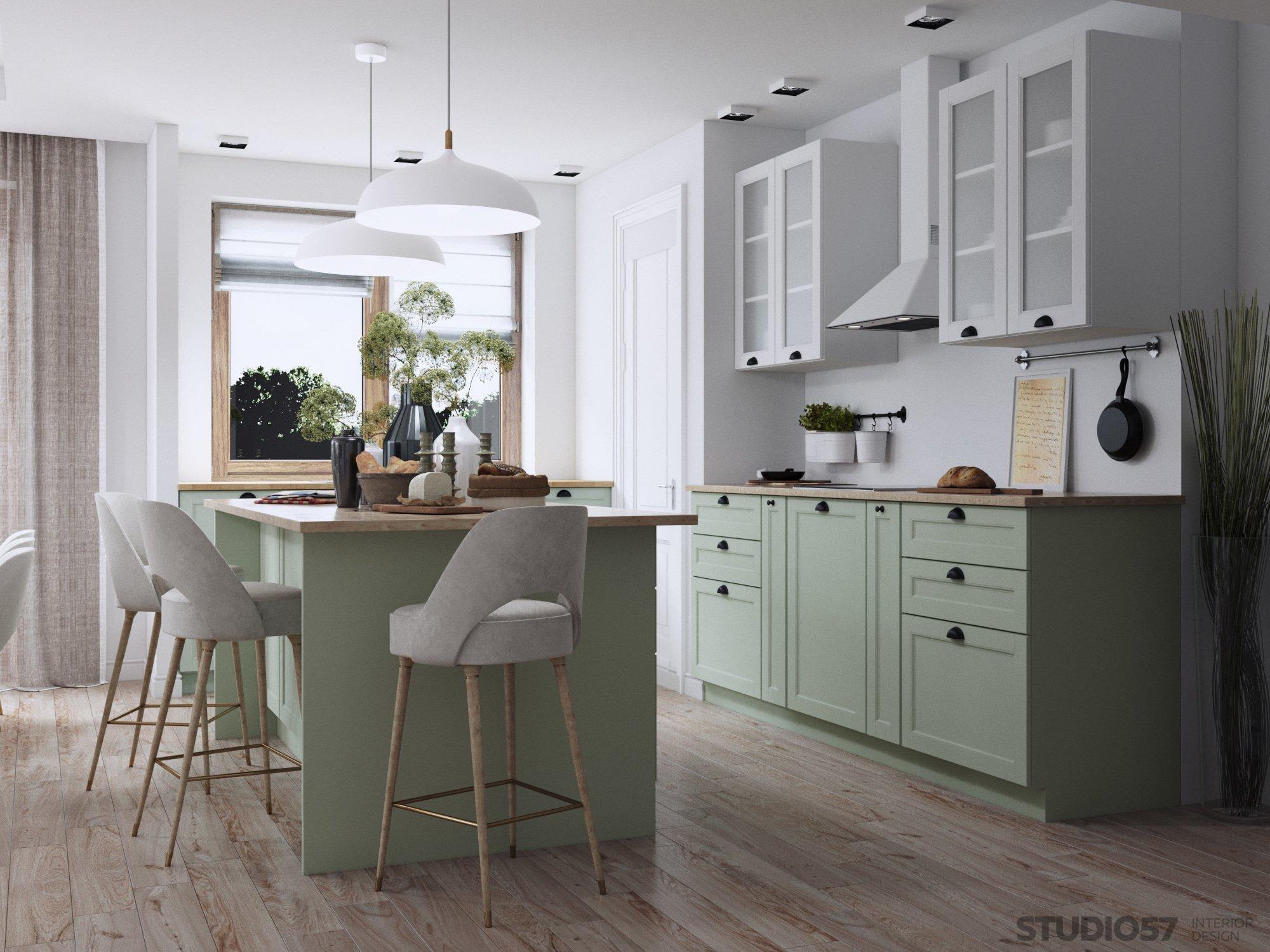 Кухня в зеленом цвете фото