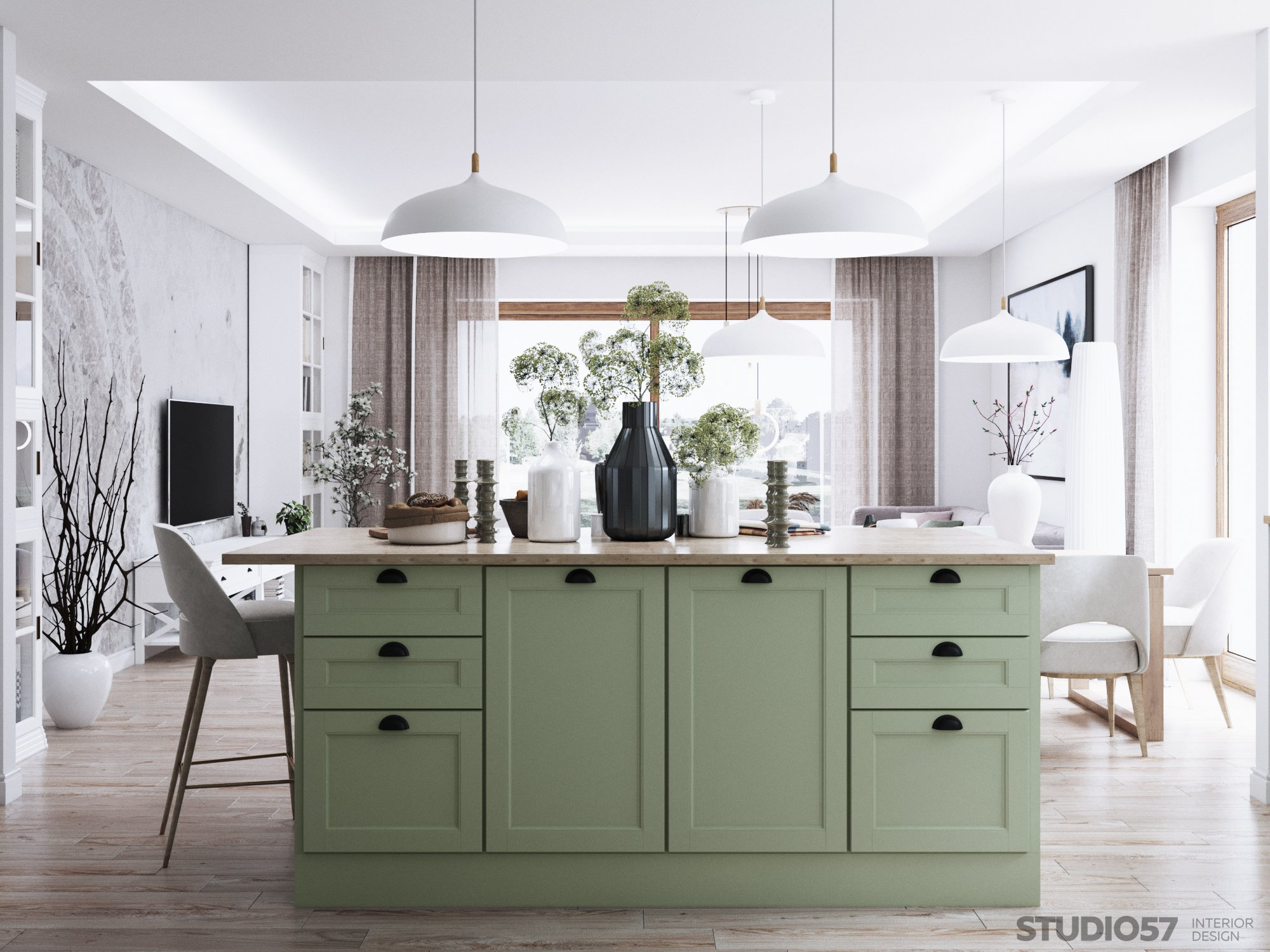 Kitchen and living room design in Contemporary style - Studio57