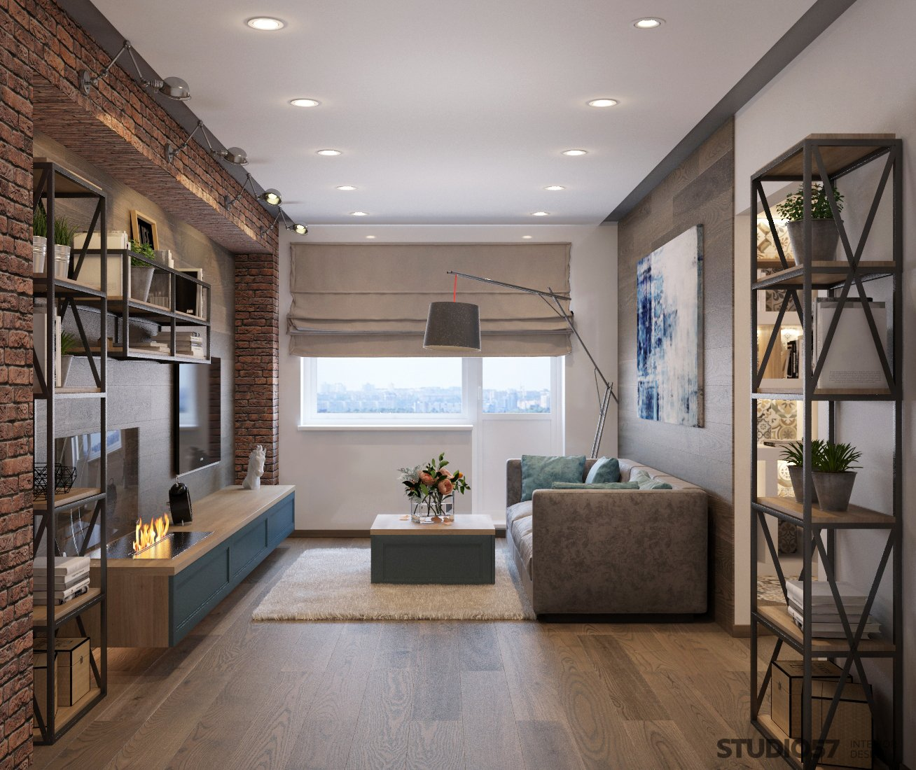 Design of the living room in loft style photo