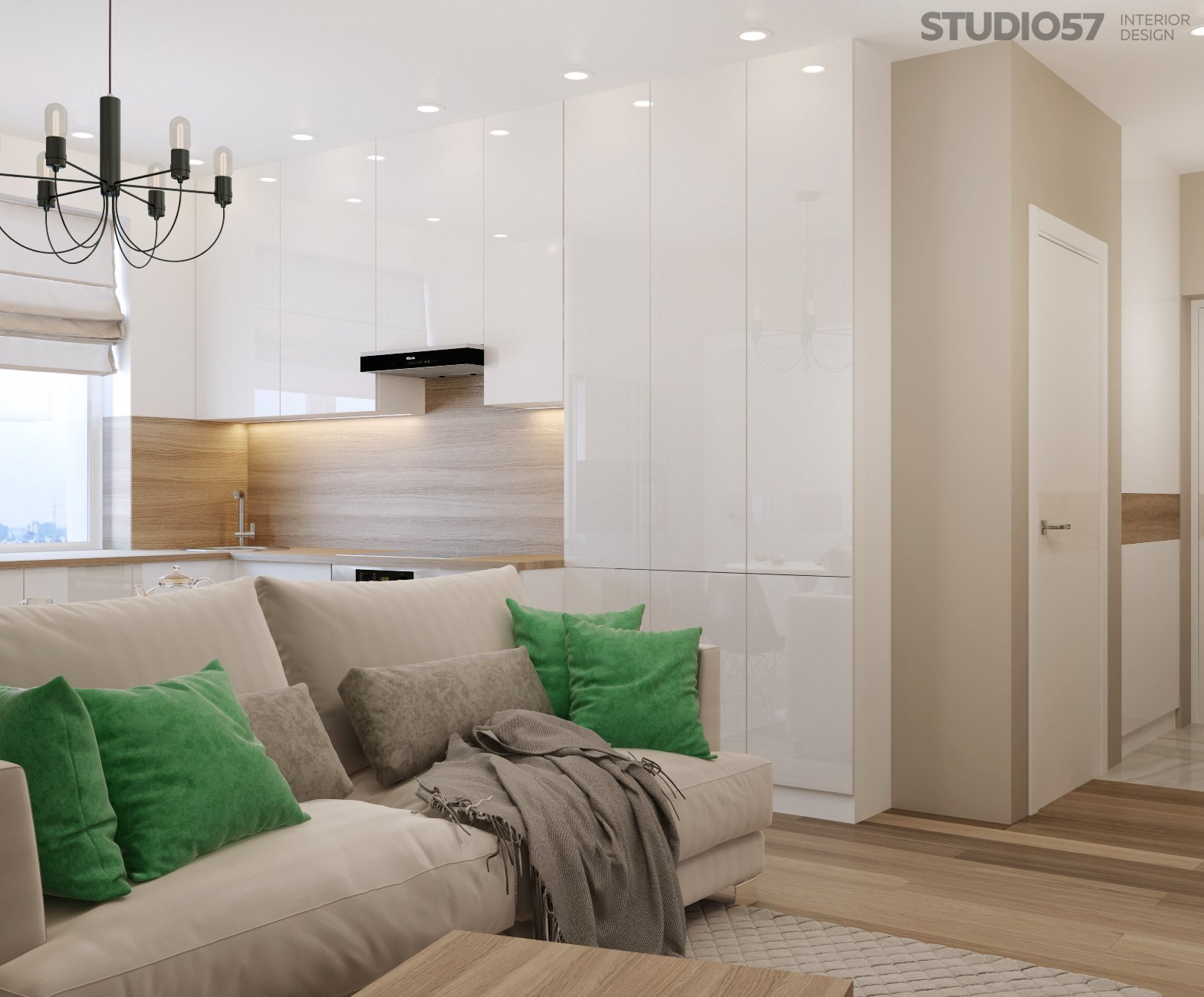 Interior design studio apartment in modern style photo
