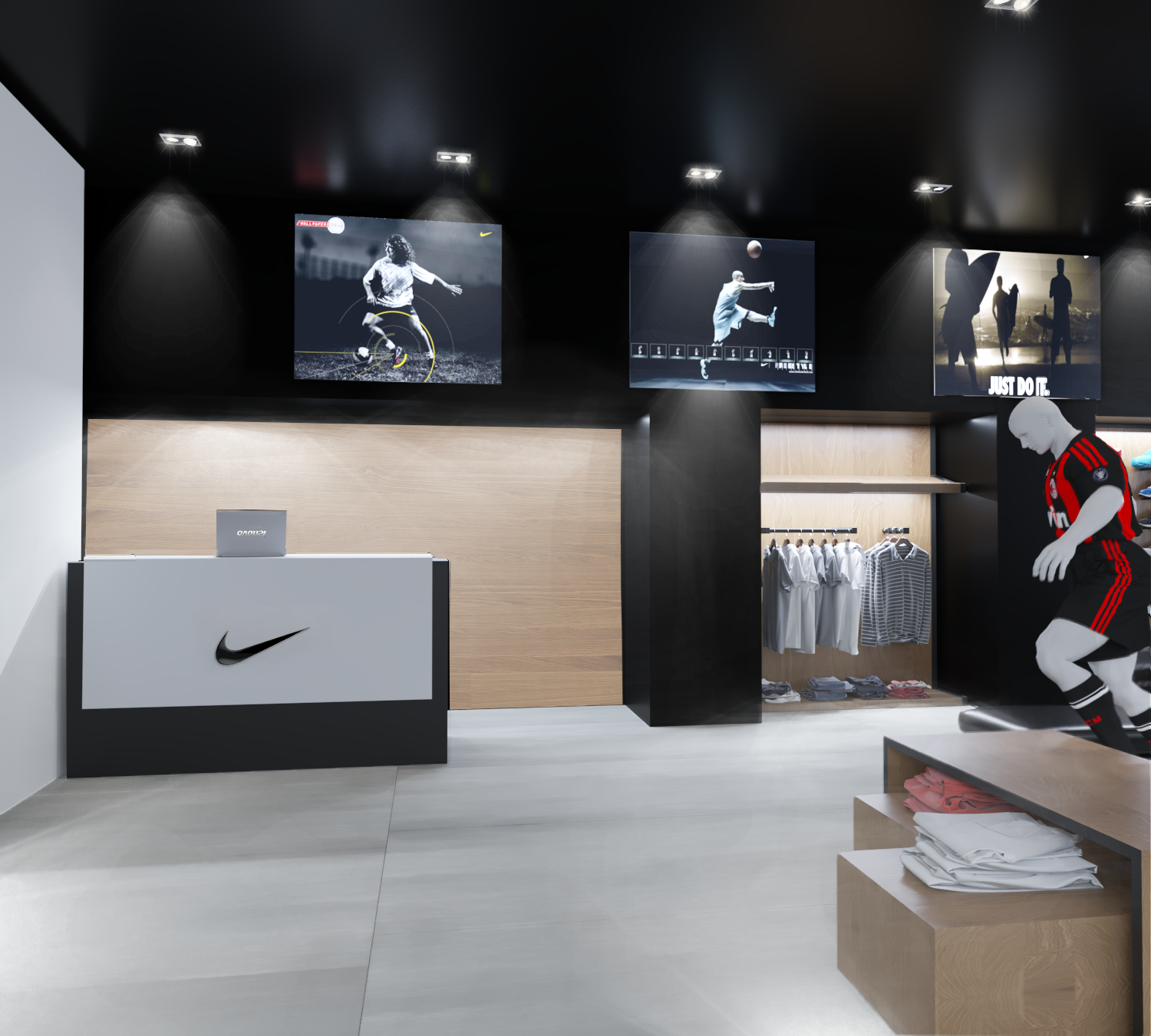Interior design of the sportswear store
