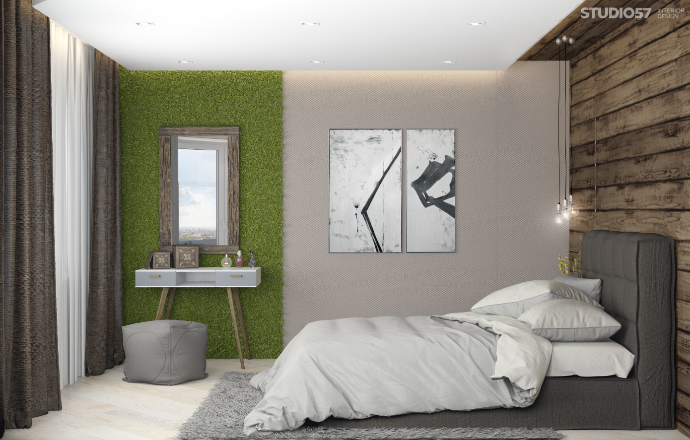 Bedroom interior design in eco style photo