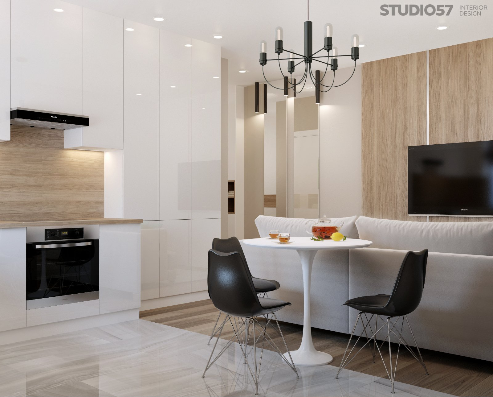 Design studio apartments in a modern style