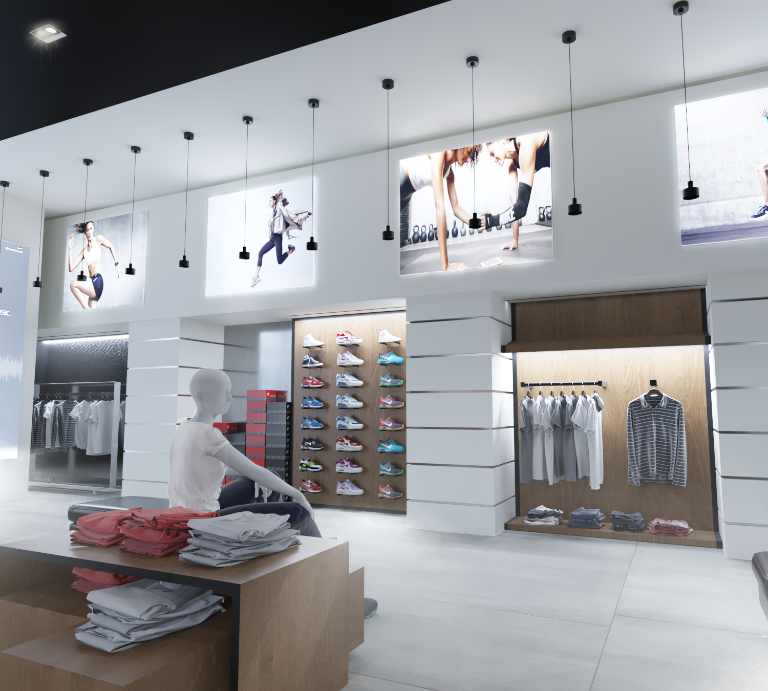 Design of the layout of shoes and clothes in the store
