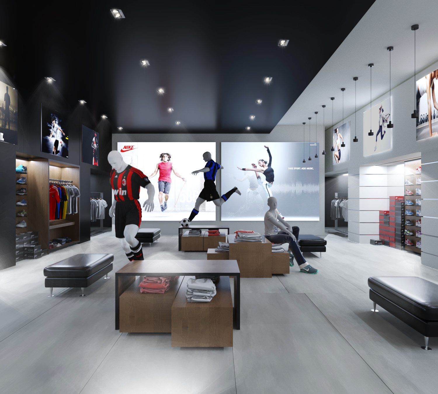 Interior design of a sports shop