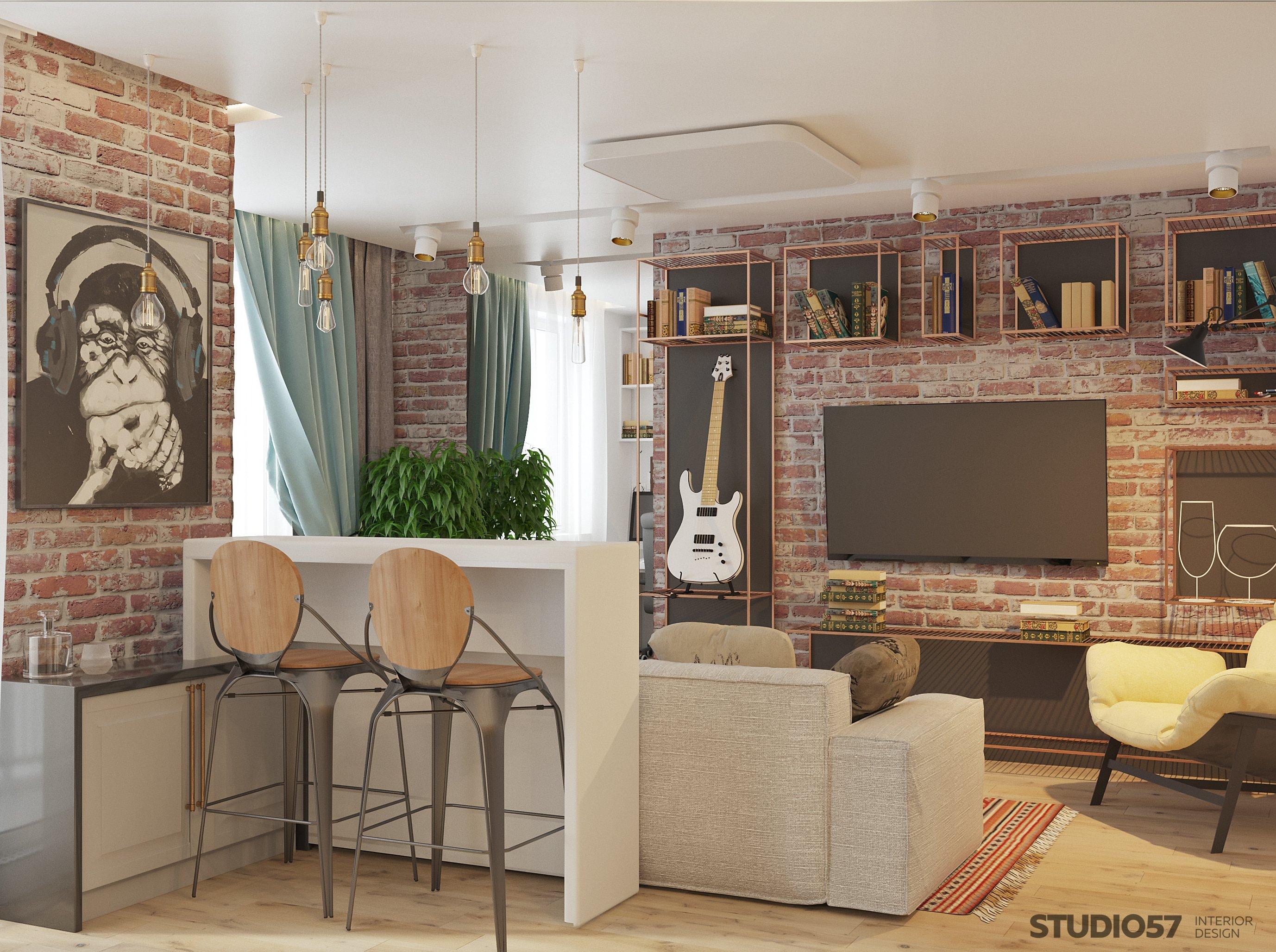 Гостиная с кухней в стиле лофт