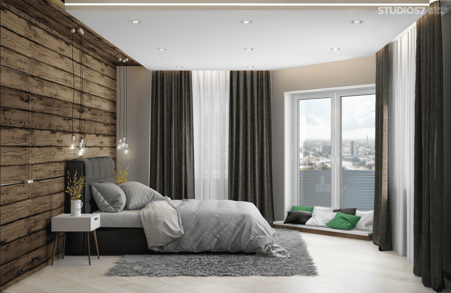 Bedroom interior in eco-style