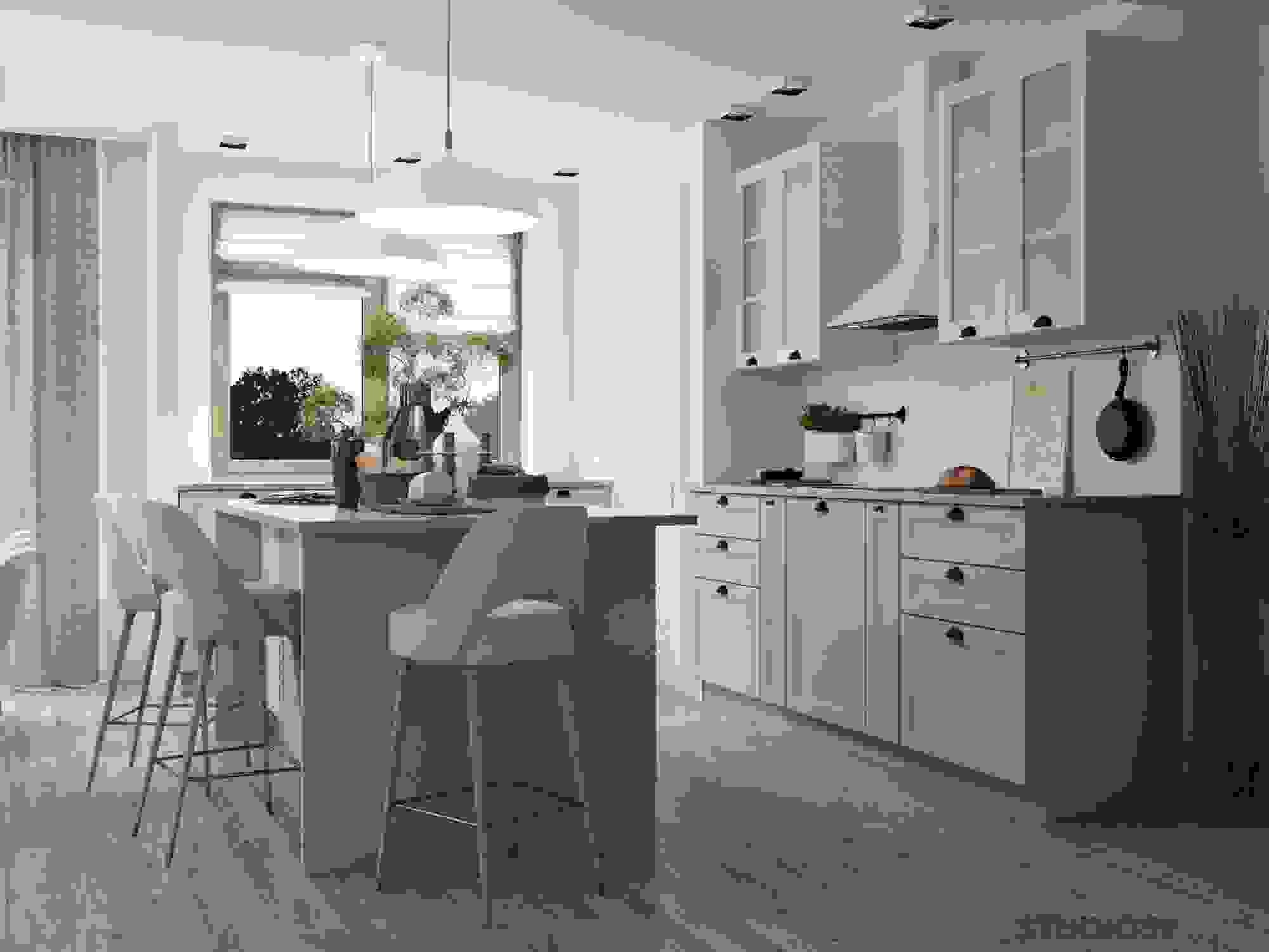 Kitchen in olive color photo