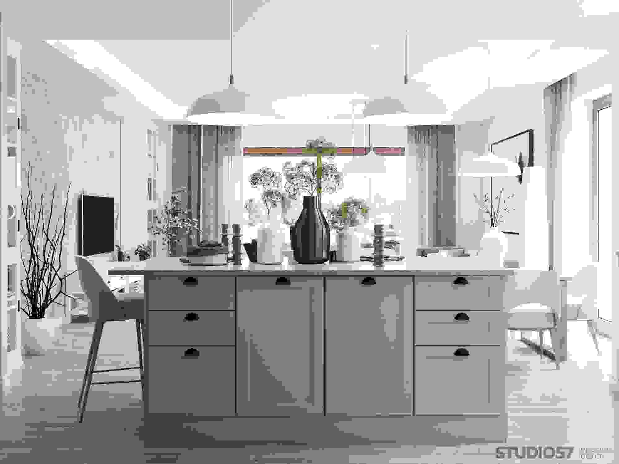Kitchen living room in Contemporary style photo