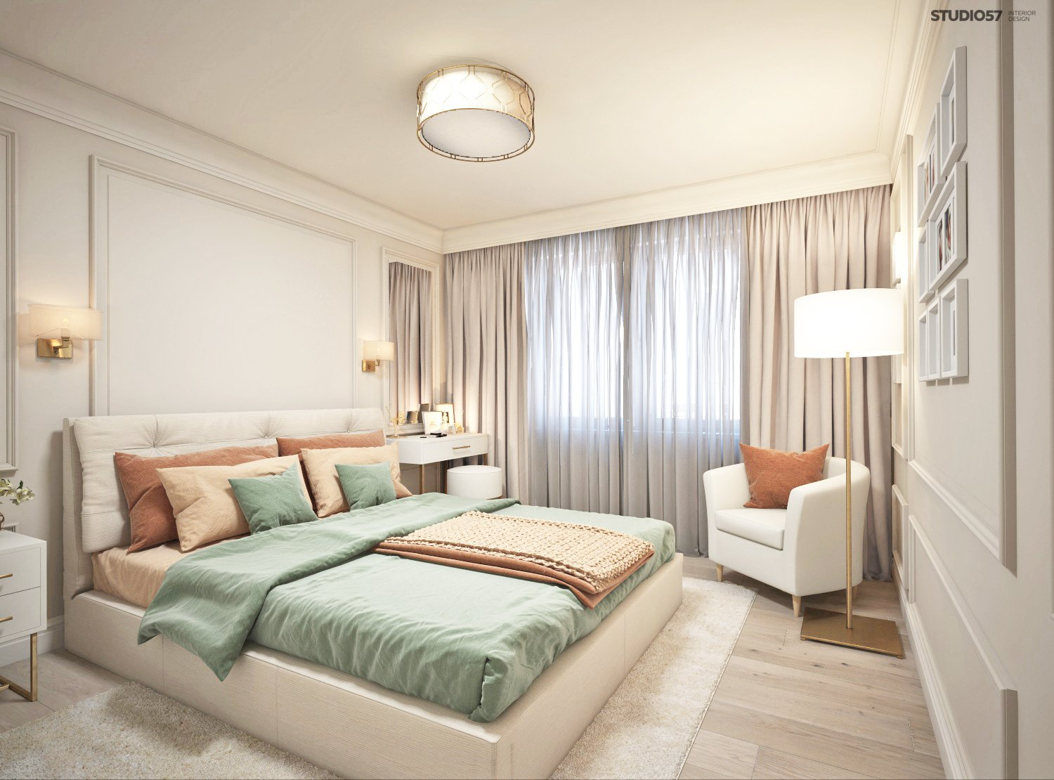 Interior of a modern bedroom photo