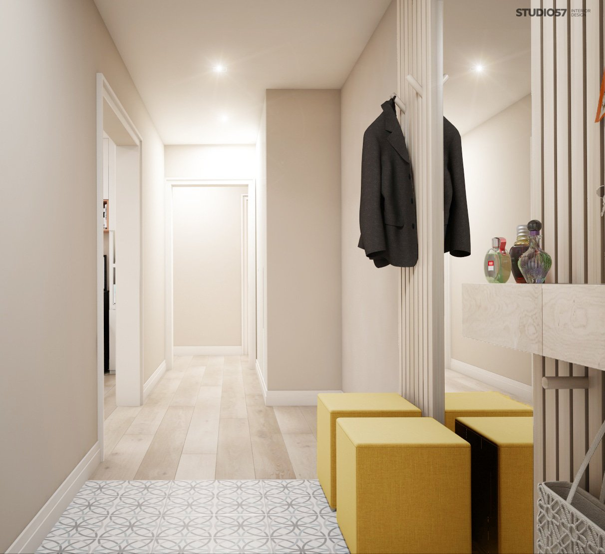 Interior of the hallway in the style of modern classic photo
