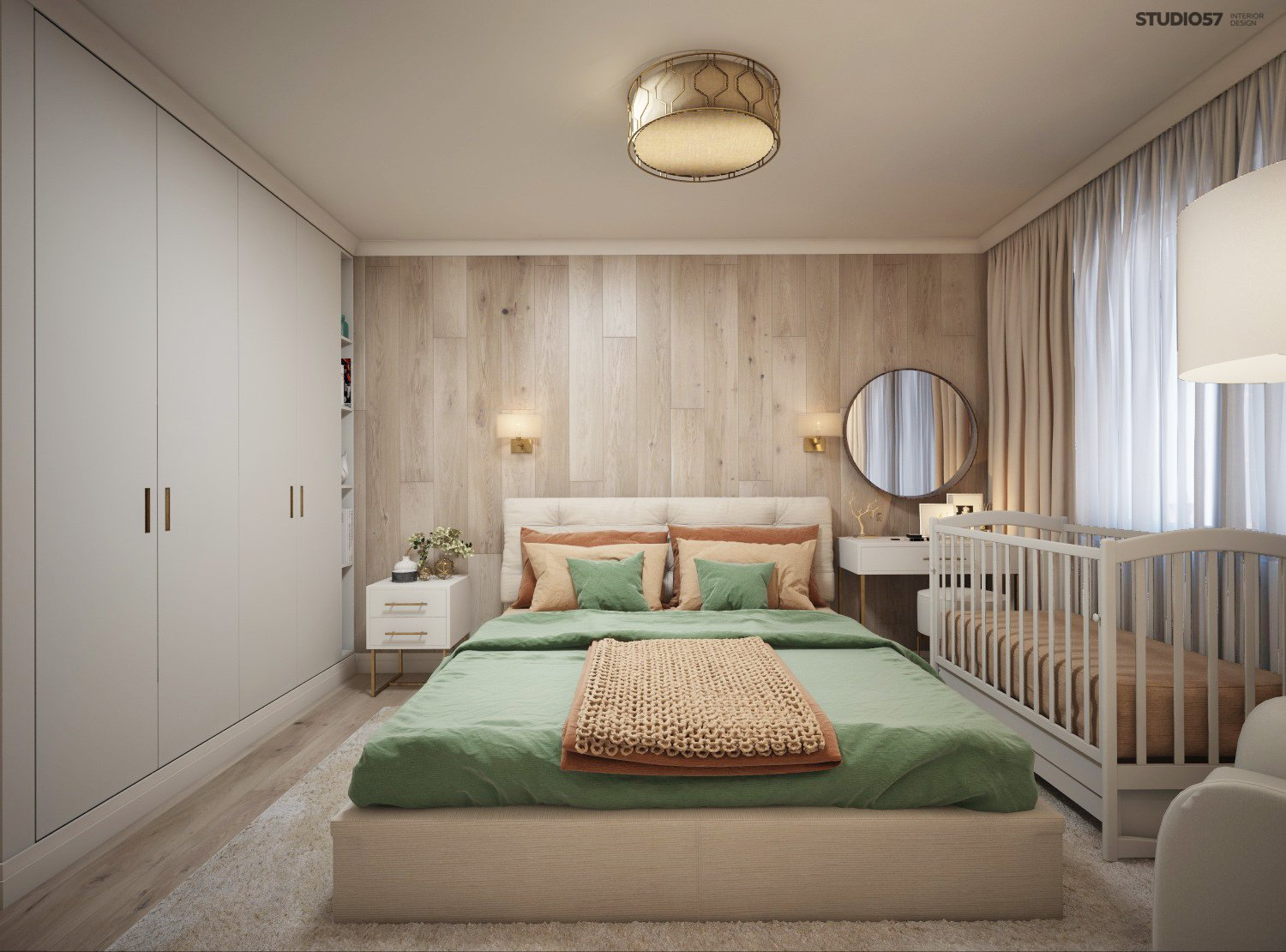 Bedroom with a wooden wall photo