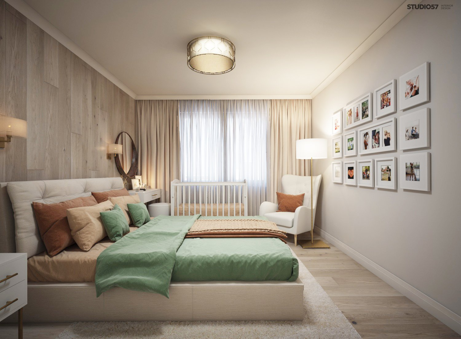 Picture bedroom in warm colors