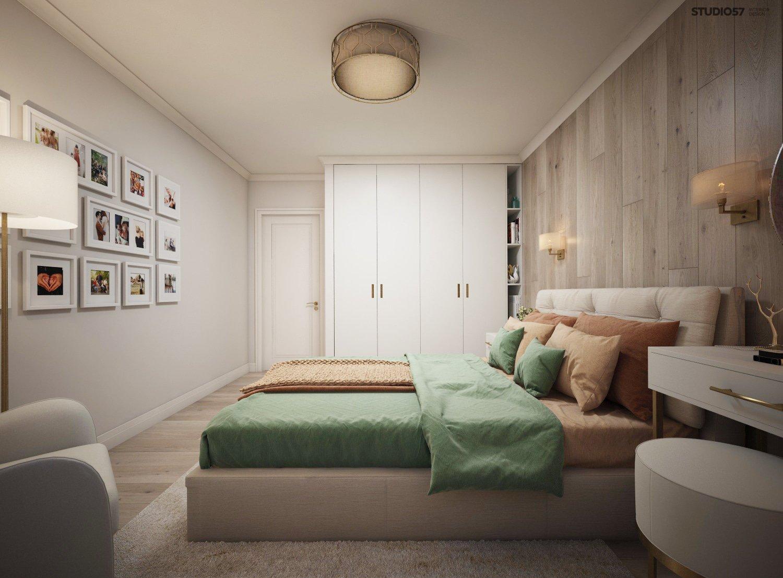 Interior of a light bedroom photo
