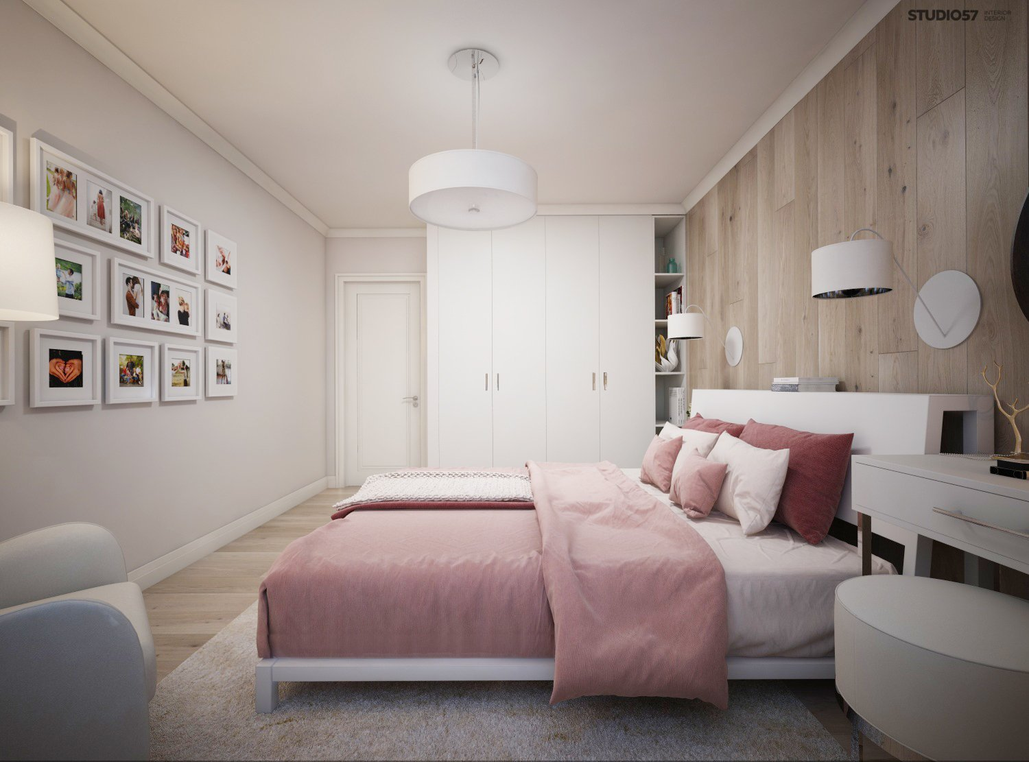 Bedroom in pink color picture