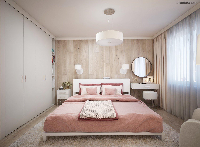 Дизайн розово белой спальни