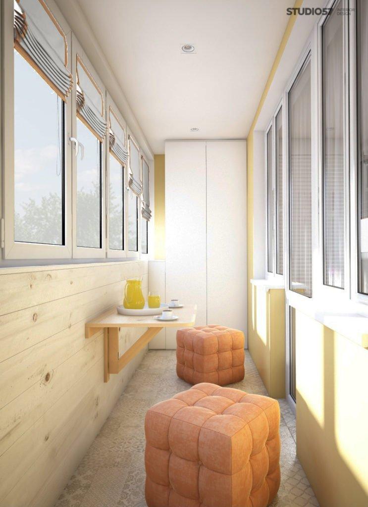 Балкон с деревянной отделкой фото