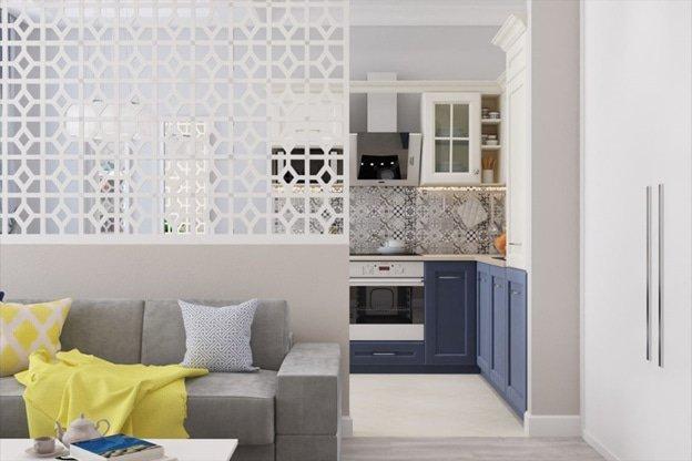 Перегородка в кухне-гостиной фото