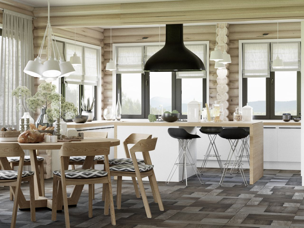 Кухня в деревянной отделке