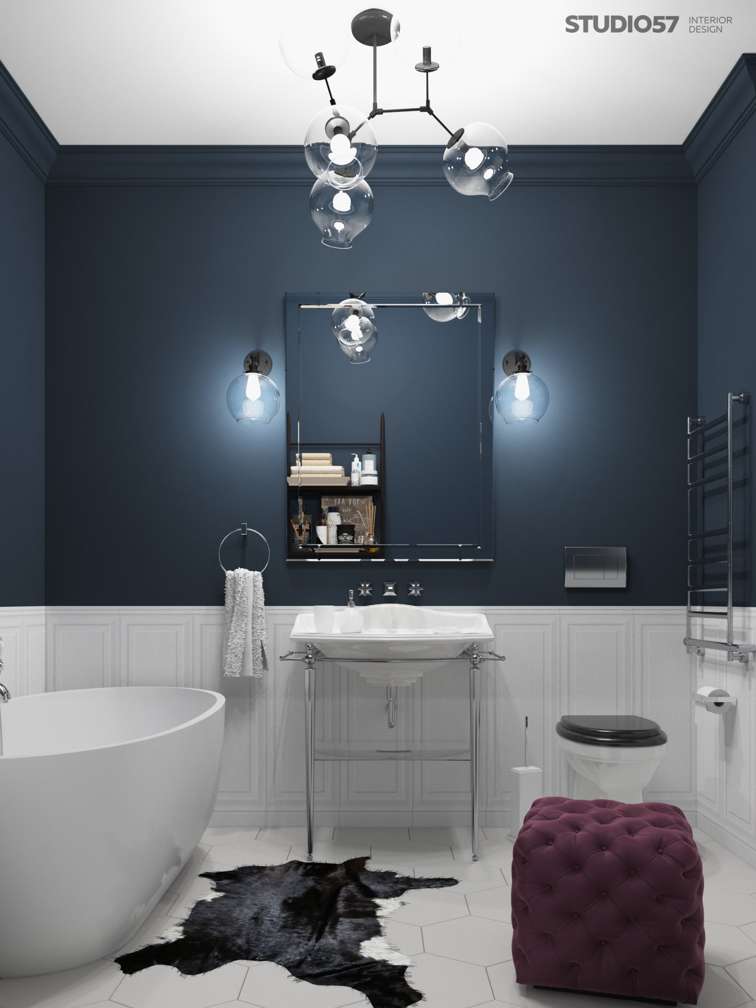 Bathroom design in fusion style