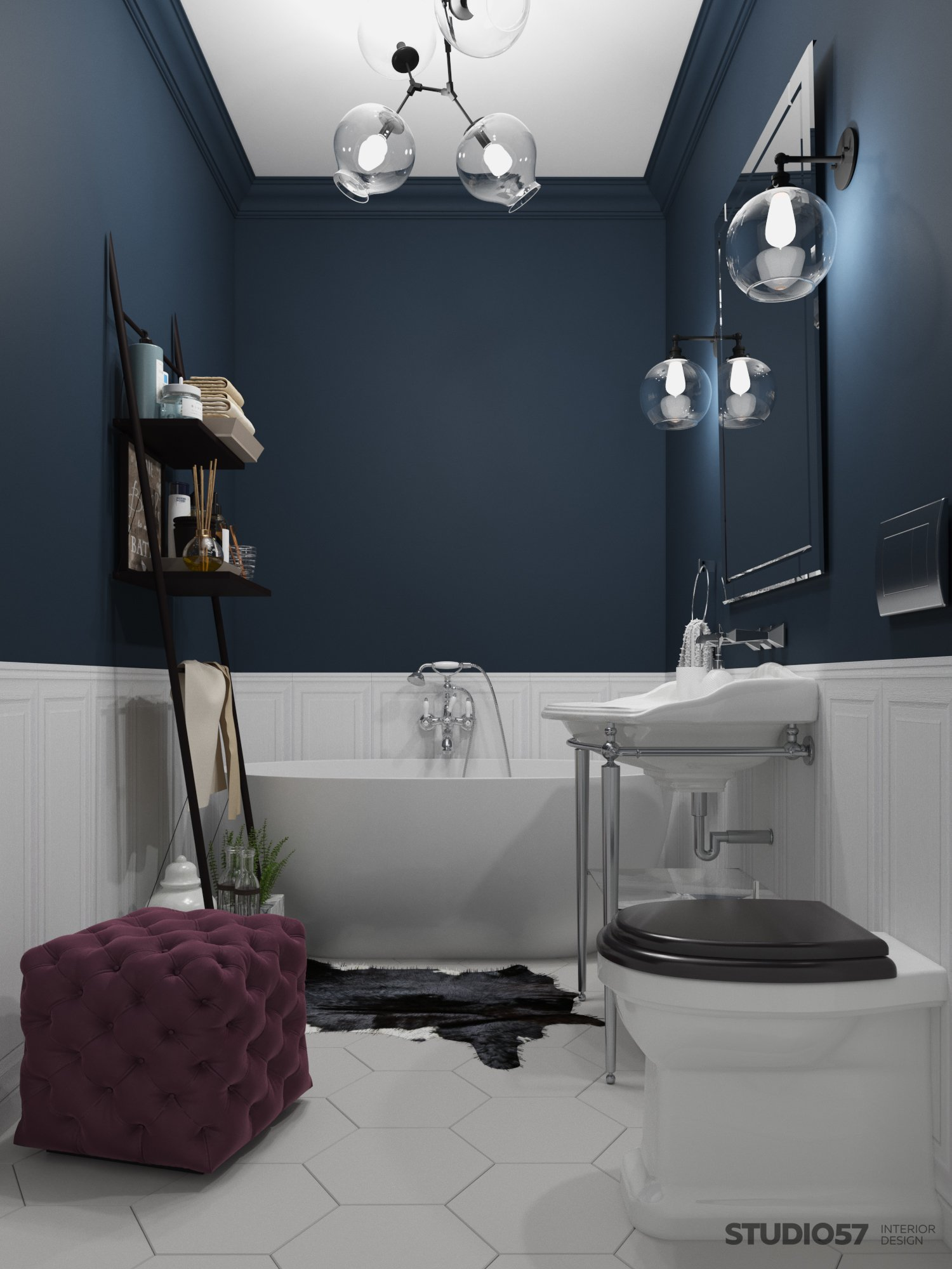 Bathroom interior in fusion style