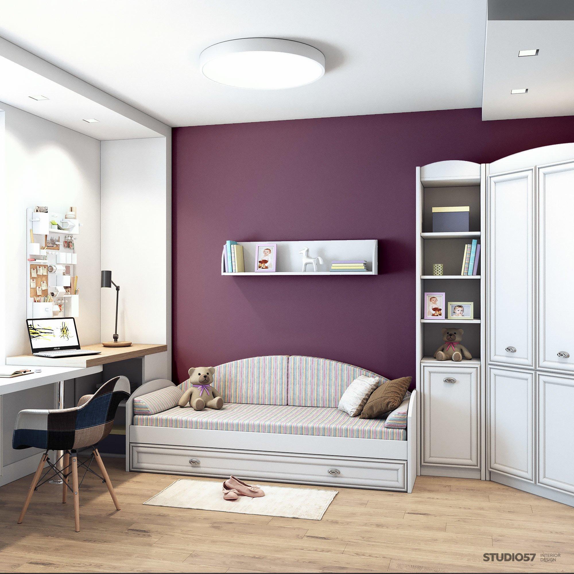 Детская в фиолетовом цвете дизайн