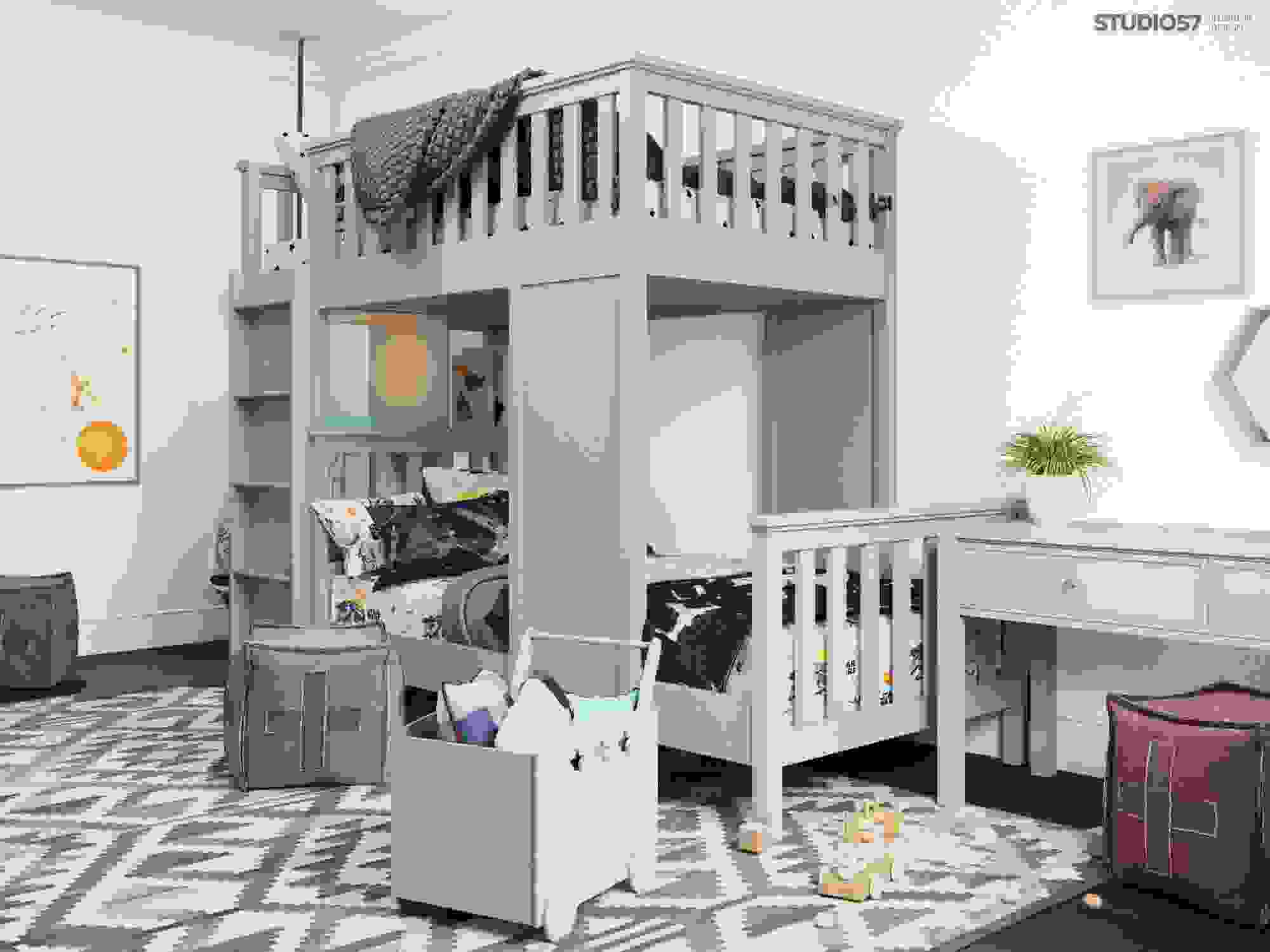 Bunk bed in a children's room photo
