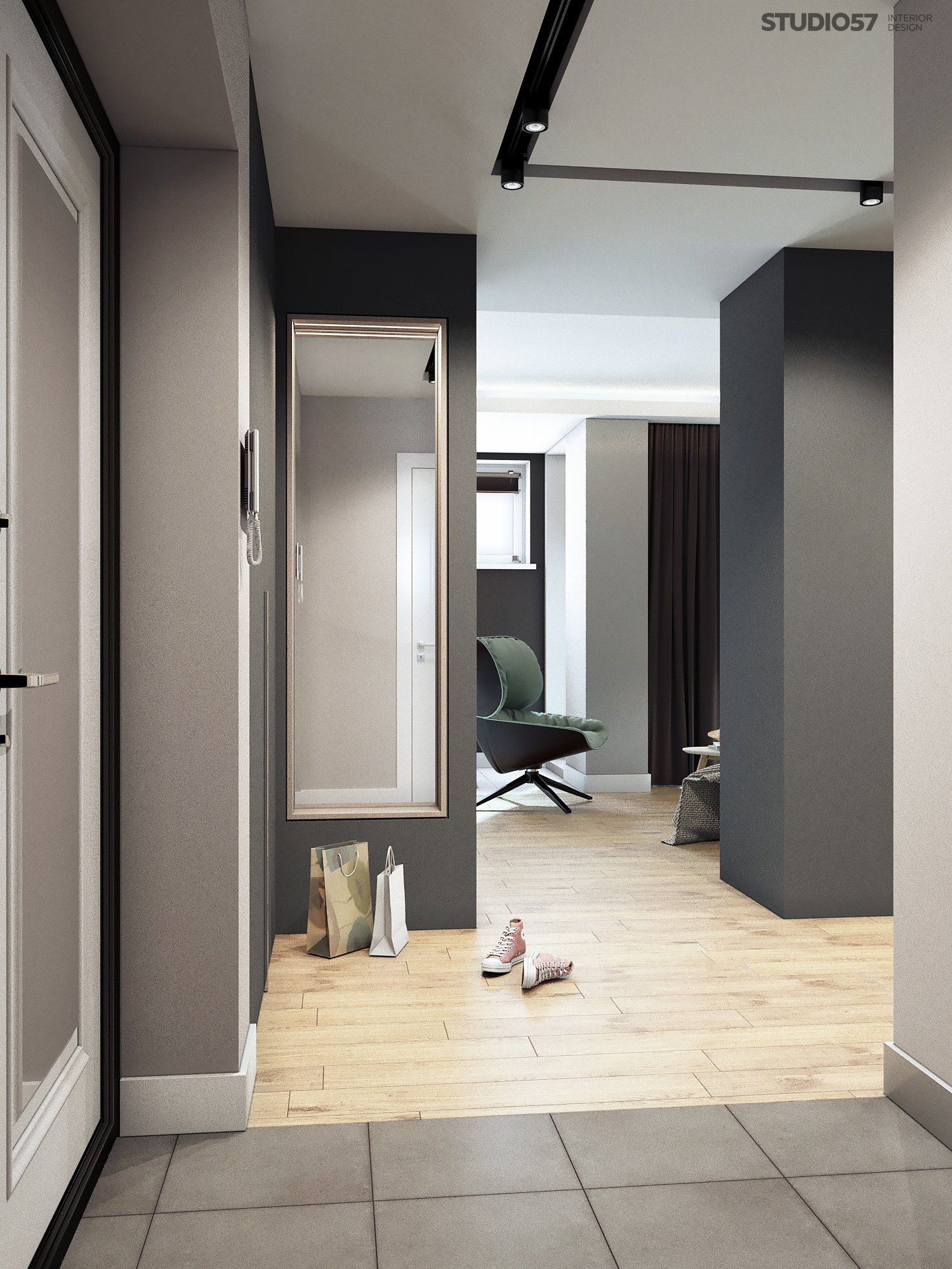 Photo of the hallway interior in gray shades