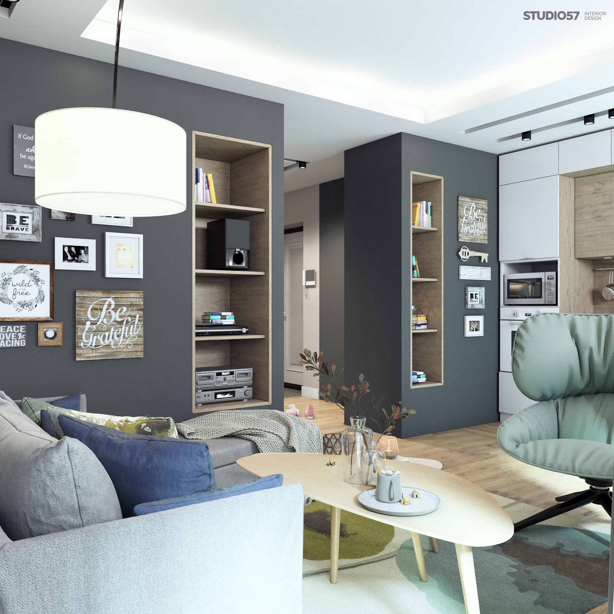 Design of the living room in the style of Contemporary photo