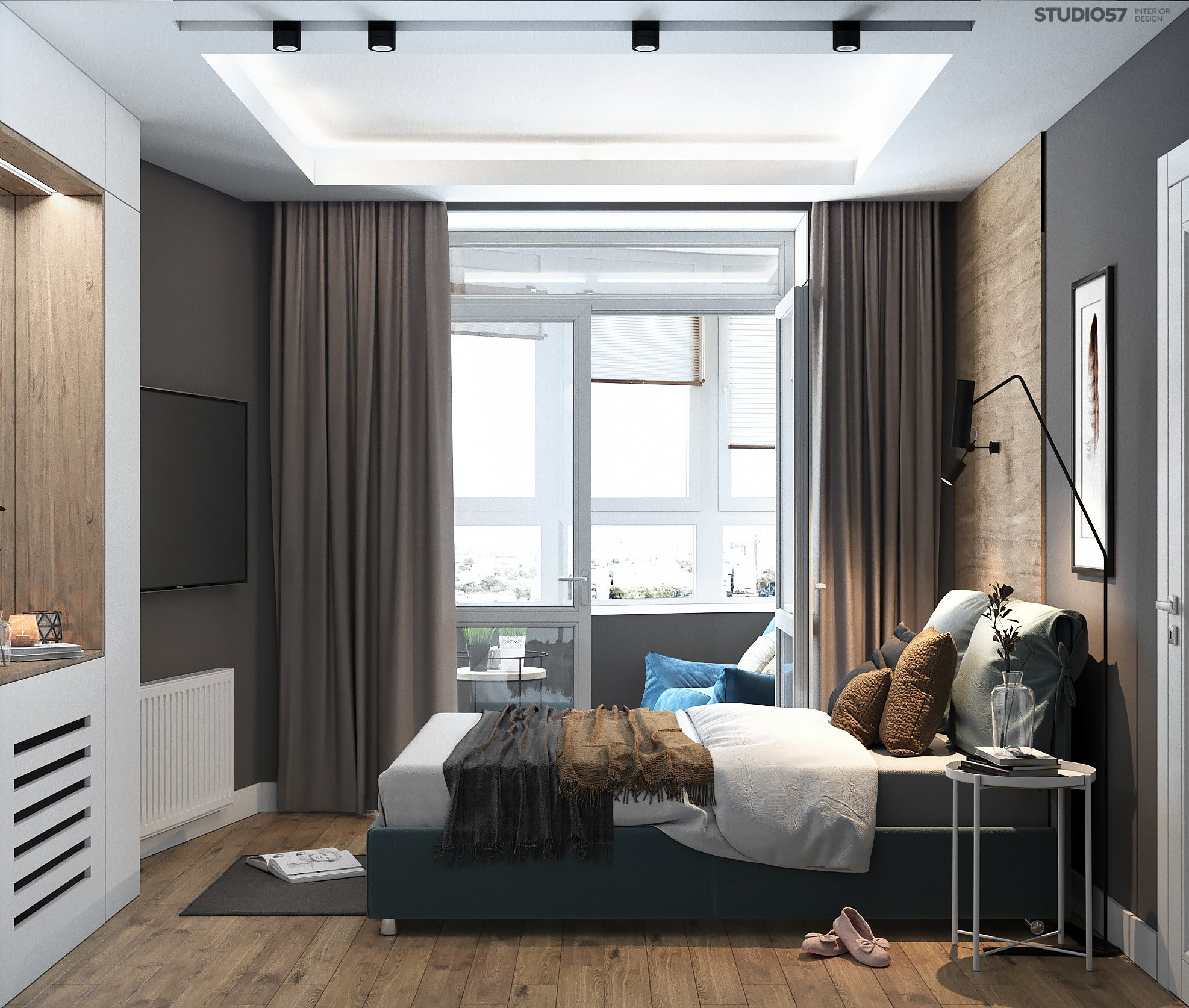 Bedroom in shades of gray picture