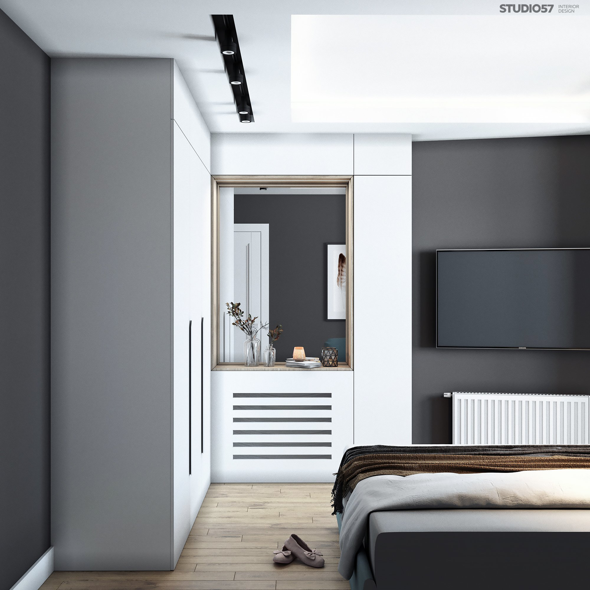 Bedroom in gray colors picture