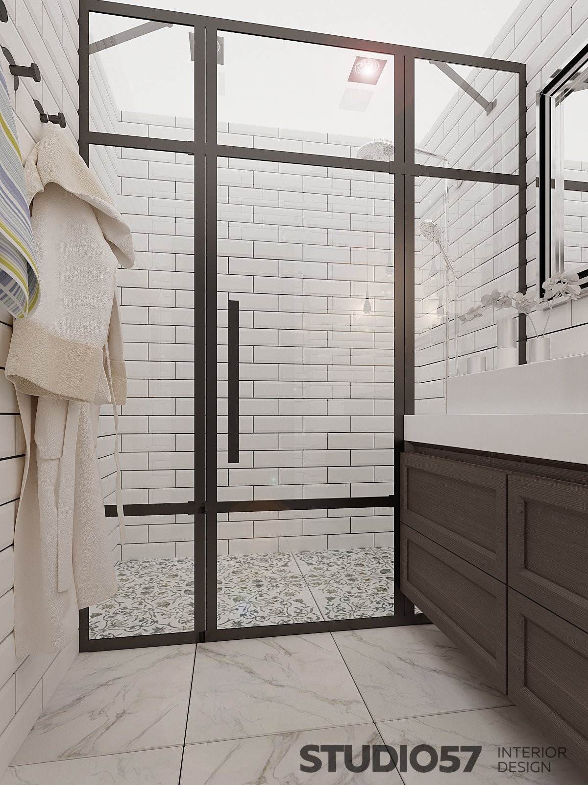 Design of a modern bathroom site photo