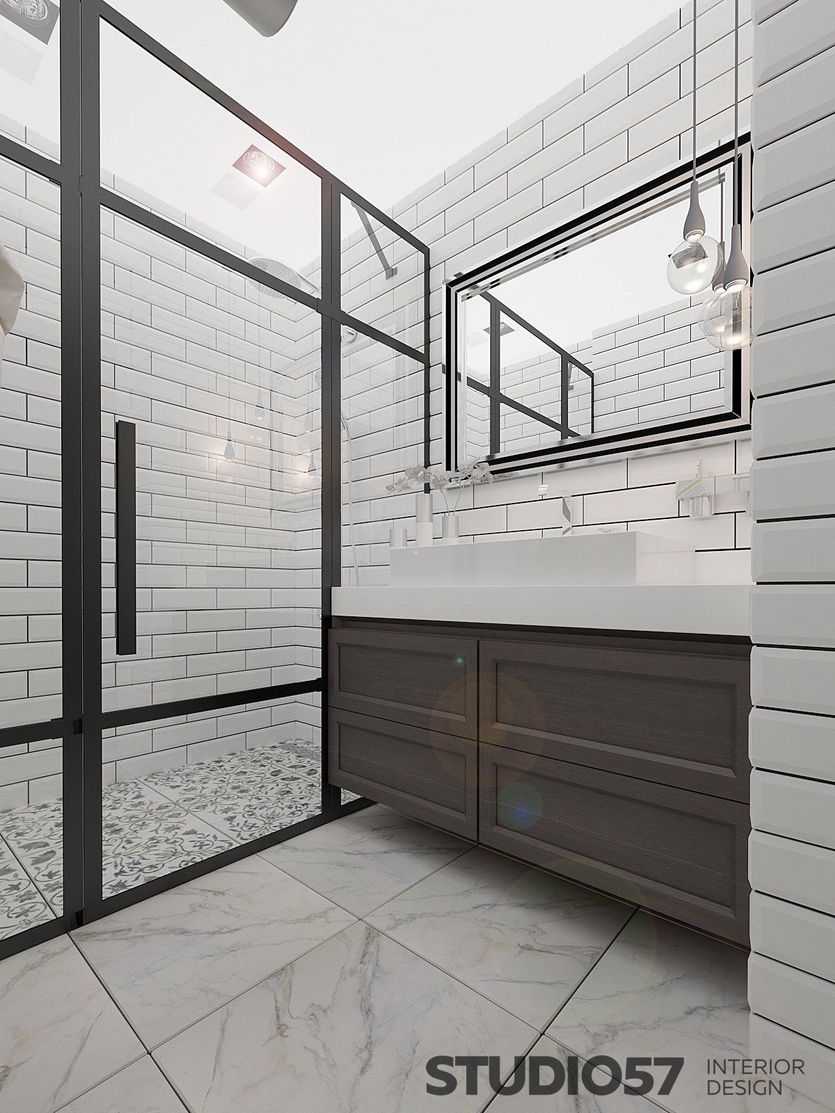 Bathroom decoration with shower photo