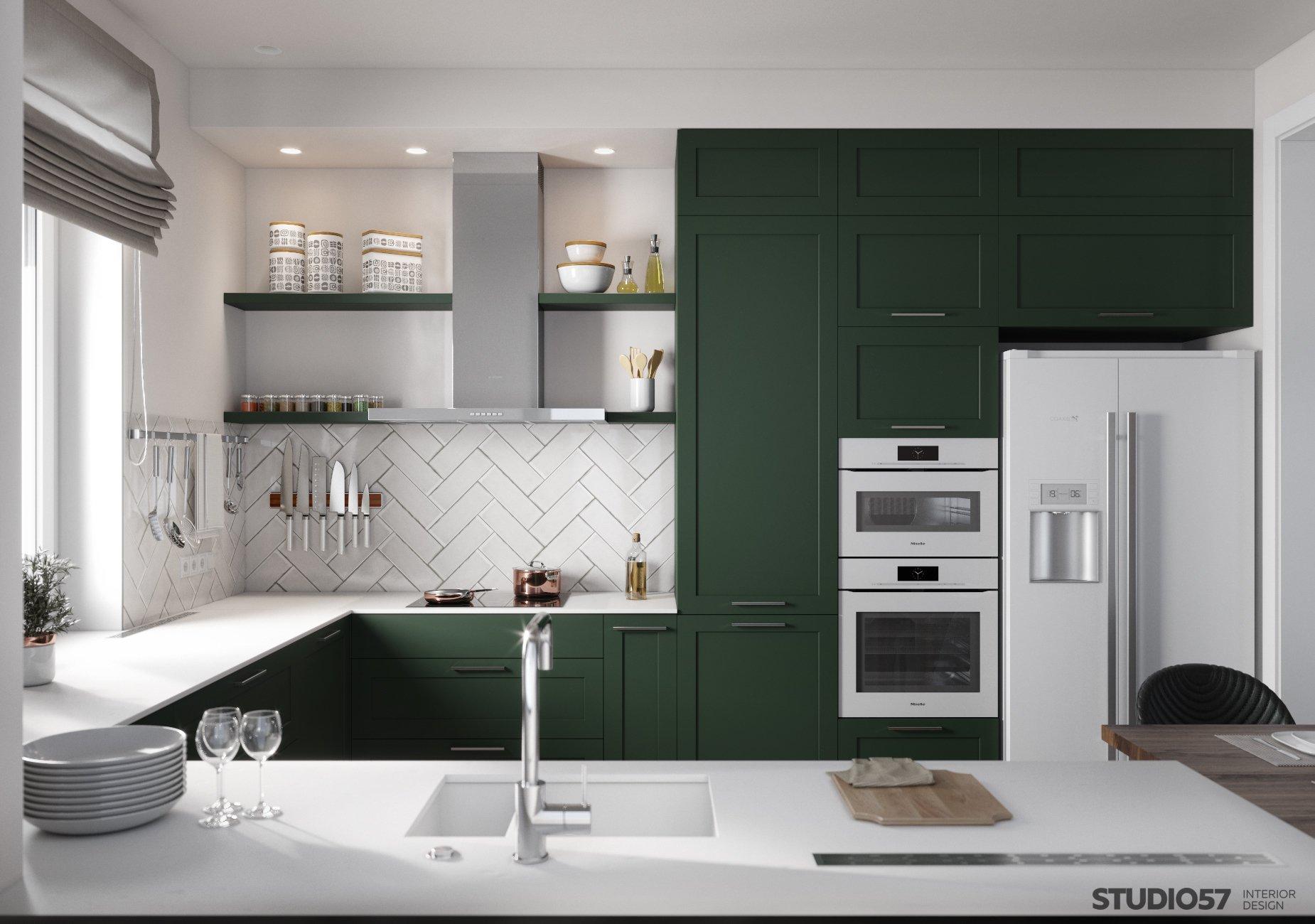 Kitchen interior design in green photo