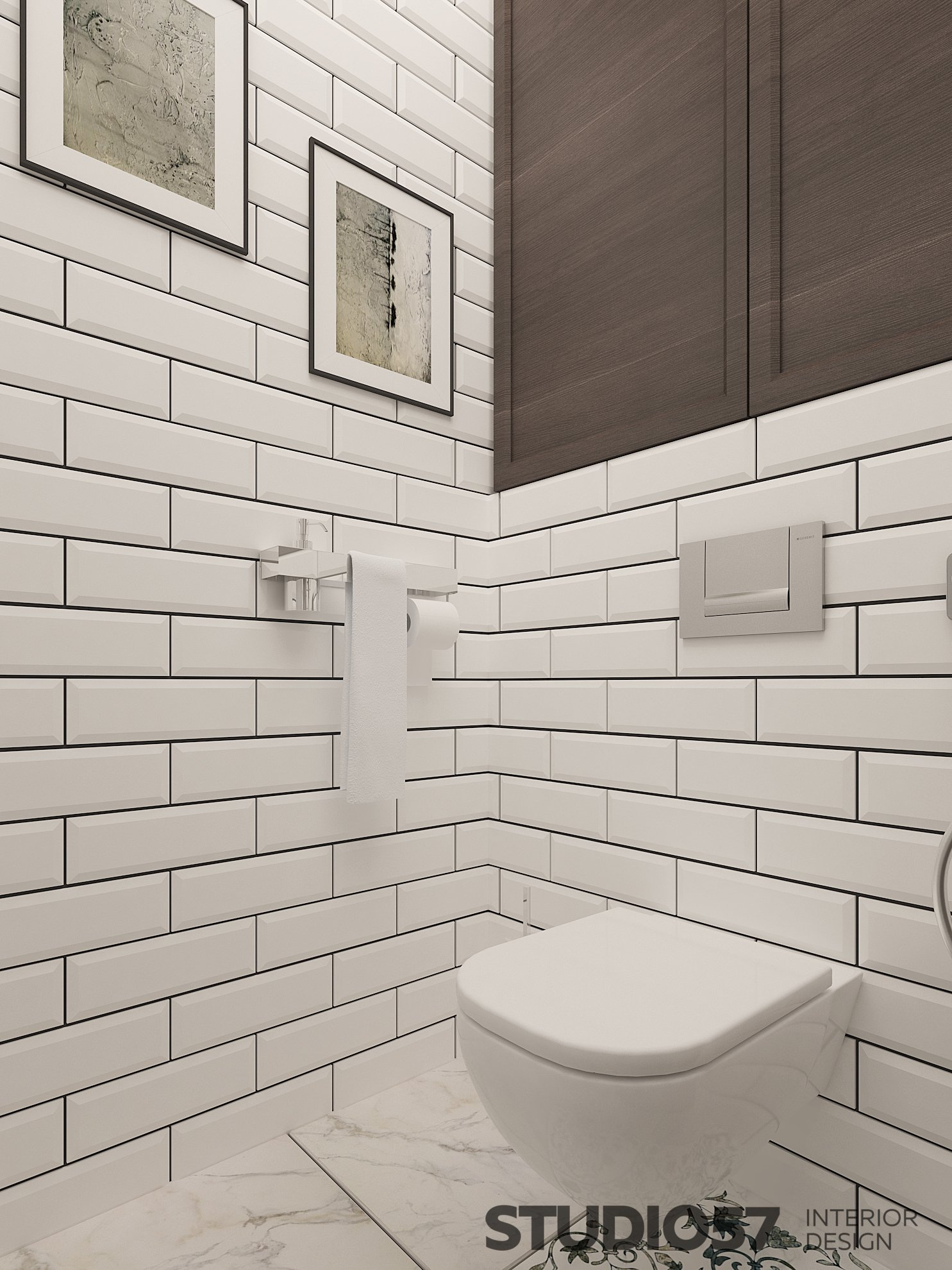 Toilet design with white rectangular tiles